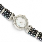 Watch with black pearls