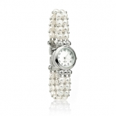 Watch with white freshwater pearls