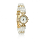 Watch with white pearls
