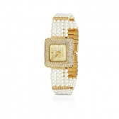 Gold-plated watch with white pearls