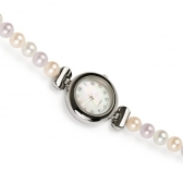 Watch with multi-coloured pearls