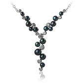Necklace with black pearls and zirconium