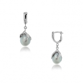 Silver earrings with gray pearls