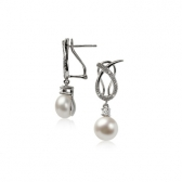 Wave earrings with freshwater pearls
