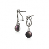 Wave earrings with black pearls