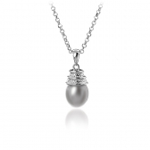 Necklace with gray pearl