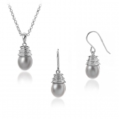 Earings and pendant with gray pearls