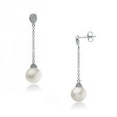 Gold earrings with white pearl and diamonds