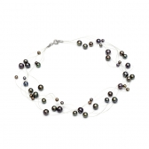 Black freshwater pearl necklace on elastic srting