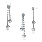Silver set wuth pearls and zirconium
