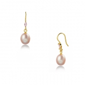 Gold plated silver earrings with lavender pearl
