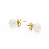 Gold plated earrings with white pearls