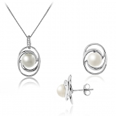 White pearl earrings and necklace