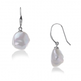 White gold earrings with baroque pearls