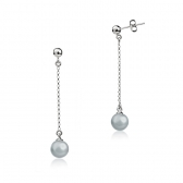White gold earrings with grey pearls