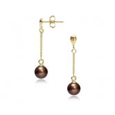 Gold-plated silver esrrings with chocolate pearls