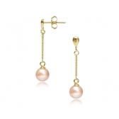 Gold-plated silver earrings with orange pearls