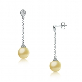 Gold earrings with Sea pearls and diamonds