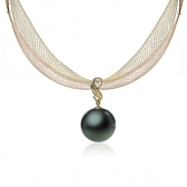 Gold earrings with Tahitian pearl