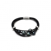 Black leather bracelet with cultured pearls