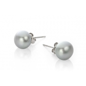 Silver earrings with grey pearls