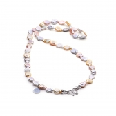 Multicolor coin pearl necklace