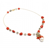 Gold necklace with pearl, coral and quartz
