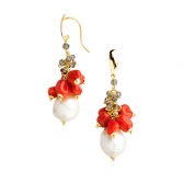 Gold earrings with pearls, coral and quartz