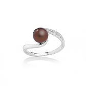 Allegra ring with chocolate pearl