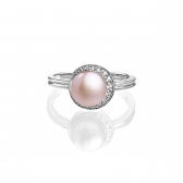 Silver ring with orange pearl