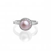 Silver ring with lavender pearl