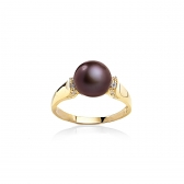 Gold-plated ring with chocolate pearl