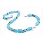 Necklace with chalcedony, turquoise and pearls