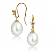 Gold-plated earrings with white beads