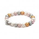 Bracelet with multi-coloured pearls