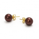 Gold-plated earrings with chocolate-coloured pearls