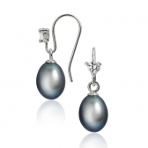 Silver earrings with dark pearls