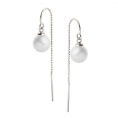 Earrings on a chain with white pearls