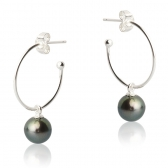Silver earrings with black freshwater pearls