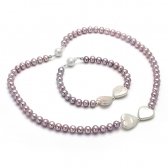 'Valentine' set with freshwater pearls