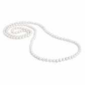 Long necklace with rice-shaped pearls