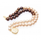 Bracelet with chocolate and orange pearls