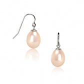 Gold earrings with orange pearls
