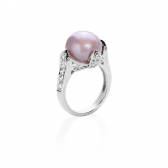 Ring with pearl lavender and zirconium