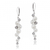 Earrings with white pearls and zirconia