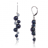 Earrings with black pearls and zirconia