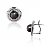 Earrings with black pearls and zirconium