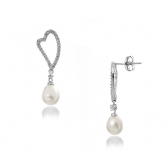 Silver earrings with white pearls and zirconiums