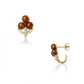Earrings with chocolate-coloured pearls