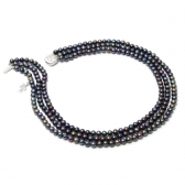 Triple strand black pearl necklace